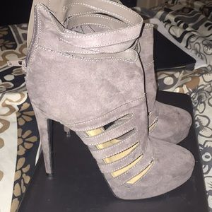 JustFab Gray Slitted Booties